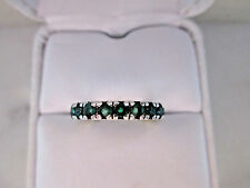 Beautiful Natural Emeralds 14k White Gold over 925 Sterling Silver Band,3.16gm