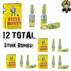 12 STINK BOMBS GLASS VIALS STINKY SMELLY NASTY FART GAS BOMB SMELL GAG GIFT