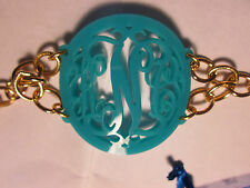 Moon and Lola acrylic Isobel monogram bracelet on Greenwhich chain KNC