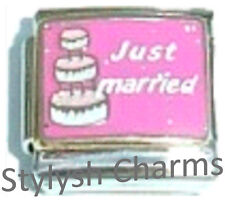 JUST MARRIED Enamel Italian 9mm Charm FA054 Fits Nomination Classic