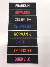 BLACK NAME TAPE (hook and loop backed) SECURITY, POLICE, ARMY, RAF, RN,SAS
