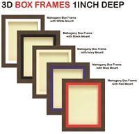 1 inch Deep 3D Shadow Box Picture Photo Keepsake Memorabilia Mahogany Frames