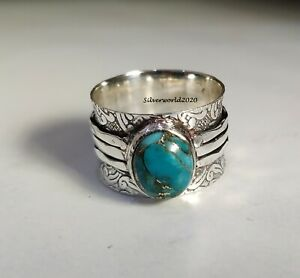 Copper Turquoise Ring Band Ring 925 Silver Plated Ring Handmade Ring Size7.5 mo9