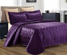 3 Piece Silky Satin Purple Quilted Bedspread Coverlet Set King Size