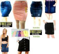 Women's /juniors Soft Cotton Plus Size JEANS Stretch Mini Button Front Skirt