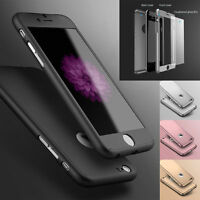 360° Hard PC Ultra thin Hybrid Case + Tempered Glass Cover For iPhone 8 X 7 Plus