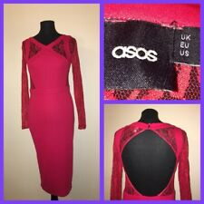 asos ladies red lace boycon pencil dress size 10 VGC A12