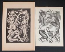 """2 Vintage Hannes Bok Lithographs """"The Grey Powers"""" And """"The Black Powers"""""""