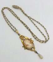 Art Deco Gold Filled Cameo Lavaliere Necklace Paper Clip Chain Vintage Jewelry