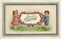 BG4872 boy and girl children  geburtstag birthday  flower   germany greetings
