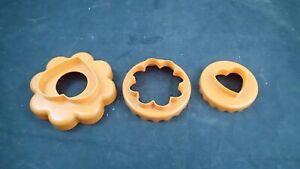 3 Orange Tupperware Nesting Cookie Cutters 1654 1656 1657