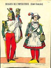 Dragons de l'Impératrice Eugénie Porte-Drapeau Cantinière Uniforme GRAVURE