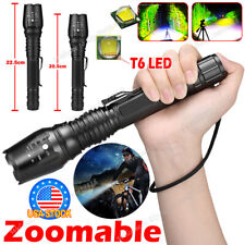 1PCS Tactical 350000LM Zoomable Focus  LED High Power Flashlight 186**50 Torch
