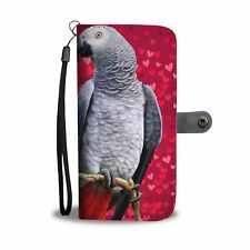 smalldoghaus -African Grey Parrot On Red Print Wallet Case