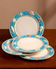 Coastal Cottage Dinnerware Salad Plates Set of 4 Seashell Border Beach Dish