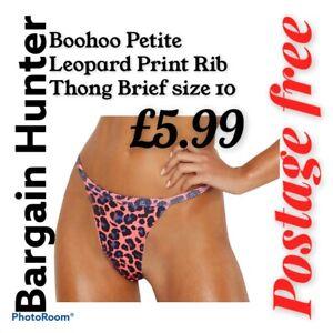 Boohoo Petite  Leopard Print Rib  Thong Brief size 10
