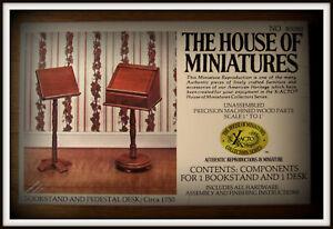 DOLLHOUSE HOUSE OF MINIATURES BOOKSTAND & PEDESTAL DESK, ANTIQUE REPLICA, SEALED