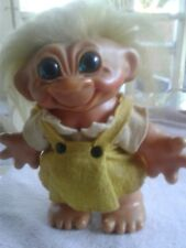 "VINTAGE DAM THOMAS 7 1/2"" GIRL TROLL DOLL BANK LONG YELLOW HAIR BLUE EYES 1960'S"