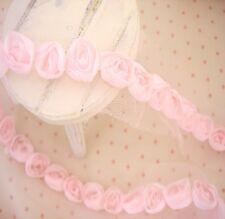 Lovely 3D Raised MINI PINK ROSE Lace Edging Toy Doll Making Wedding Cake Decor