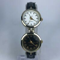 Unbranded Womens Black Band Stainless Steel White Black Dual Dial Quartz Watch