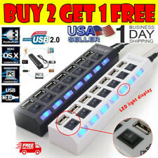 7-Port USB 2.0 Multi Charger Hub High Speed Adapter ON/OFF Switch Laptop/PC US
