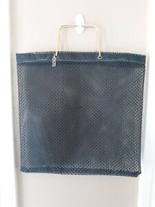 Vintage Plastic Tote black Mesh Shopping Bag Purse Retro Mod Reusable MCM gold