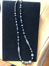 Unusual Navajo 19'' stone, crystal and sterling silver bead necklace