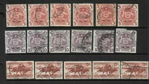 Bulk Stamps Australia 5/-, 10/- Coat of Arms, 5/- Cattle  x 17 good/ fine used