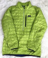 Patagonia Nano Puff Men's Large Half Zip Pullover Jacket Lime Green Winter Down