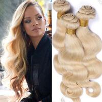 Virgin Remy 100% Human Hair Extensions Weft #613 Blonde Hair 1/3 Bundles USA