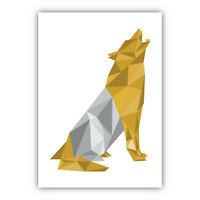 Art PRINT GEOMETRIC ANIMAL FOREST collection YELLOW & GREY Poster Wall 3 for 2