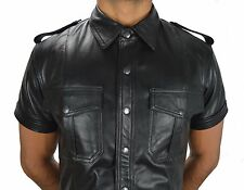 police style Gay leather shirt Soft Leather shirt,lederhemd n Cuir,Hemd.S - 2XL