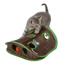 New listing 9 Hole Cat Toy Mice Game Intelligence Pet Bell Tent Playing Tunnel + Bell+ Mouse
