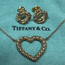 Tiffany & Co Vintage Open Heart Necklace & Matching Earrings Studs Set 925 & 14k