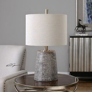 "DURON 23"" TEXTURED CERAMIC TABLE LAMP PLATED BRUSHED NICKEL METAL UTTERMOST"
