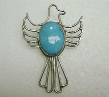 SOUTHWEST  STERLING SILVER TURQUOISE THUNDERBIRD PENDANT WITH BEAR STAMP N437-C