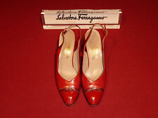 Ferragamo Bombata Red Leather Shoes with Patent Toe and Snakeskin Trim 9B