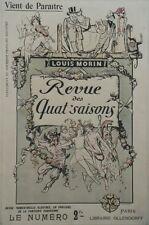 """""""REVUE DES QUAT' SAISONS"""" Affiche originale entoilée Litho Louis MORIN 42x63cm"""