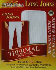 3 PACK MENS THERMAL BRUSHED LONG JOHNS WHITE BLUE GREY S -XXL