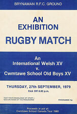 Cwmtawe School Old Boys v Welsh International XV 27 Sep 1979 RUGBY PROGRAMME