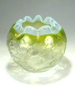 Antique yellow crackle glass rose bowl with an opalescent glass applied rim