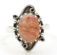 Natural Rhodochrosite 925 Solid Sterling Silver Ring Jewelry Sz 8, ED24-8