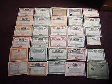 """""""UNE"""" Collection de 30 part de certificats de chemin de fer train auto huile bancaire"""
