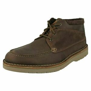 MENS CLARKS EASTFORD TOP DARK BROWN ANKLE BOOTS