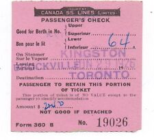 1926 Canada Steamship Lines Passenger Check Ticket Kingston to Toronto