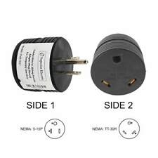 RV Electrical Adapter 15 Amp Male to 30 Amp Female Plug Round Grip Motorhome