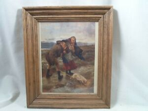 solid oak mid century wood frame, The Last Match, 8  by 10, # 1560