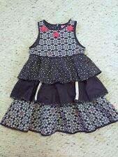 Cakewalk Girls 122 128 7 8 Dark Gray White Red Flower Tiered Ruffle Dress