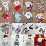 3PCS Newborn Baby Girl Boy Tops Romper +Long Pants Headband Outfits Clothes Set