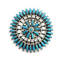 Native American Sterling Silver Navajo Handmade Turquoise Pin / Pendant